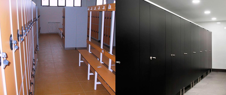 Vestuarios con cabinas de baño